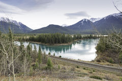 Vermilion Lakes and Mount Rundle Stock Photo