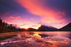 Vermilion Lakes. Sunset above Vermilion Lakes, Banff National Park, Canada Stock Photos