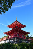 Vermilion pagoda of Daikakuji temple, Kyoto Japan Stock Image