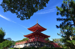 Vermilion pagoda of Daikakuji temple, Kyoto Japan Stock Photography