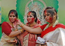 Vermilion Play. Durga Puja Festival, the 5-day long celebration is celebrated all over the world by all Bengali speaking people from India during the Month of Stock Image