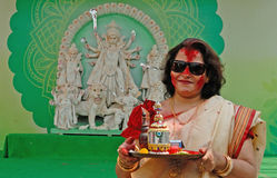Vermilion Play. Durga Puja Festival, the 5-day long celebration is celebrated all over the world by all Bengali speaking people from India during the Month of Stock Photo