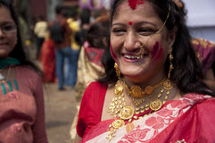 Vermilion play (Sindur khela) during durga puja Stock Image