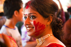 Vermilion play (Sindur khela) during durga puja. Woman celebrate Bijoya dashami during Durga puja Stock Photography