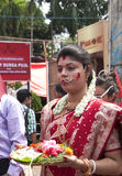 Vermilion play (Sindur khela) during durga puja Stock Photo