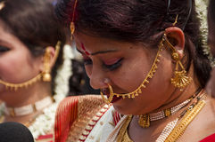 Vermilion play (Sindur khela) during durga puja Royalty Free Stock Photo