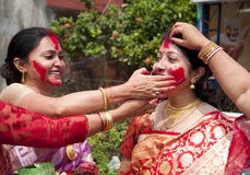 Vermilion play (Sindur khela) during durga puja Royalty Free Stock Images