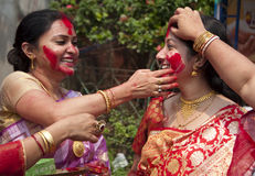 Vermilion play (Sindur khela) during durga puja. Women celebrate Bijoya dashami during Durga puja Stock Image