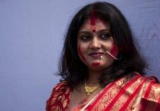 Vermilion play (Sindur khela) Stock Photography