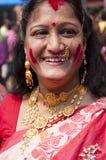 Vermilion play (Sindur khela) Royalty Free Stock Images