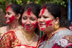 Vermilion play (Sindur khela). Women celebrate Bijoya dashami during Durga puja Stock Images