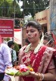 Vermilion sztuka podczas durga puja (Sindur khela) Zdjęcie Stock