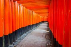 Vermilion torii gates at Kyoto Fushimi Inari Shrine Royalty Free Stock Image