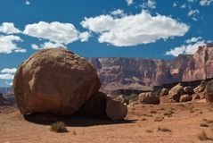 Vermillion Cliffs and boulder Stock Photo