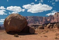 Vermillion Cliffs and boulder Stock Photo