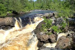Vermillion falls. The Vermillion River cascading down as it flows into Crane Lake Stock Photo