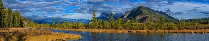 Vermillion Lake and Randle Mountain. Banff, Alberta, Canada Stock Photos