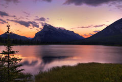 Vermillion Lake Sunset. Sunset over Mount Rundle from the Vermillion Lakes. Located near Banff in Alberta Canada Royalty Free Stock Photos