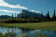 Vermillion Lakes, Banff Alberta Canada. Vermillion Lakes, in the Bow River Valley, just outside the town of Banff Alberta Canada. Mount Rundle distant against Royalty Free Stock Photos