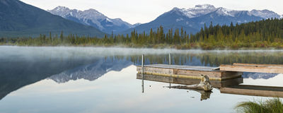 Vermillion Lakes Foggy Dock Royalty Free Stock Photos