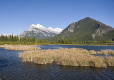 Vermillion Lakes and Mount Rundle Royalty Free Stock Images