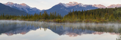 Vermillion Lakes Reflections Panorama Royalty Free Stock Photo