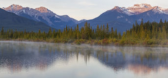 Vermillion Lakes Rippled Reflections Stock Images