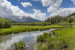Vermillion Lakes and Rocky Mountains - Banff National Park, Cana Royalty Free Stock Image