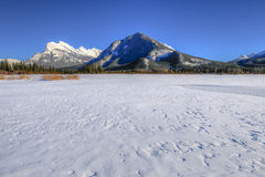 Vermillion Lakes. Scenic Mount Rundle and Vermillion lakes in winter, Banff National Park Alberta Canada Stock Photo