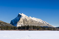 Vermillion Lakes. Scenic Mount Rundle and Vermillion lakes in winter, Banff National Park Alberta Canada Stock Photography