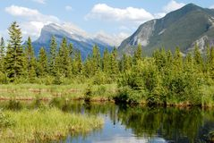 Vermillion Lakes in spring,Canadian Rockies,Canada Royalty Free Stock Photography