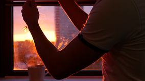 Verminder de zonneblinden op het venster die van de mooie zonsondergang, met heerlijke hete thee op de vensterbank verbergen Slow stock videobeelden
