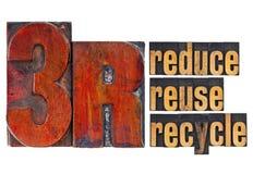 Verminder, gebruik opnieuw, recycleer - 3R concept Stock Fotografie