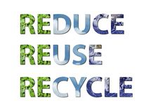 Verminder, gebruik, recycleer aarde, water, lucht opnieuw Stock Afbeelding