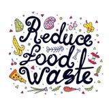Verminder Voedselafval Hand het Getrokken Van letters voorzien Stock Foto's