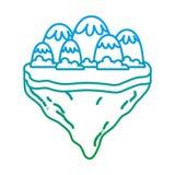 Verminderte Linie Eisberge und -büsche in der Flossinsel lizenzfreie abbildung