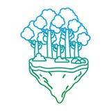Verminderte Linie exotische Bäume und Büsche im Floss idland lizenzfreie abbildung