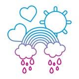 Verminderte Linie Regenbogenwolken, die mit Herzen und Sonne regnen lizenzfreie abbildung