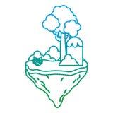 Verminderte Linie tropische Büsche und Baum in der Flossinsel lizenzfreie abbildung