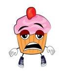 Vermoeid Cupcake-beeldverhaal Stock Fotografie