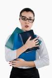 Vermoeide bedrijfsvrouw met omslagen en glazen voor visie in haar Stock Foto