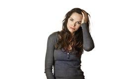 Vermoeide, beklemtoonde en gevoede omhoog vrouw Stock Fotografie