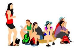 Vermoeide de reiziger van toeristenmeisjes rust en het wachten taxi aan herberg, royalty-vrije illustratie