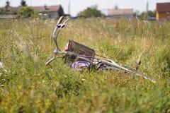 Vermoeide fiets die in het gras bij de kant van de weg liggen Stock Foto's