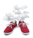 Vermoeide fuming schoenen Stock Fotografie