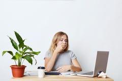 Vermoeide onderneemster die terwijl het zitten voor geopende voorgesteld laptop, berekenen en het uitbrengen van bedrijfsverslag, stock fotografie