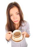 Vermoeide vrouw in de ochtend Stock Foto