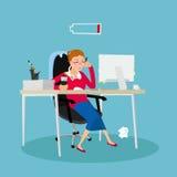 Vermoeide vrouw op het werk Stock Foto