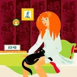 Vermoeide vrouw in slaapkamer Royalty-vrije Stock Afbeeldingen