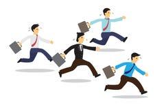 Vermoeide zakenlieden die met hun aktentas lopen stock illustratie